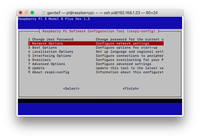 raspi-config configuration tool
