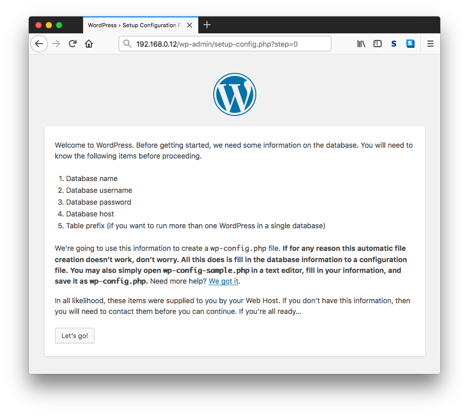 Wordpress Setup Configuration 2nd Page