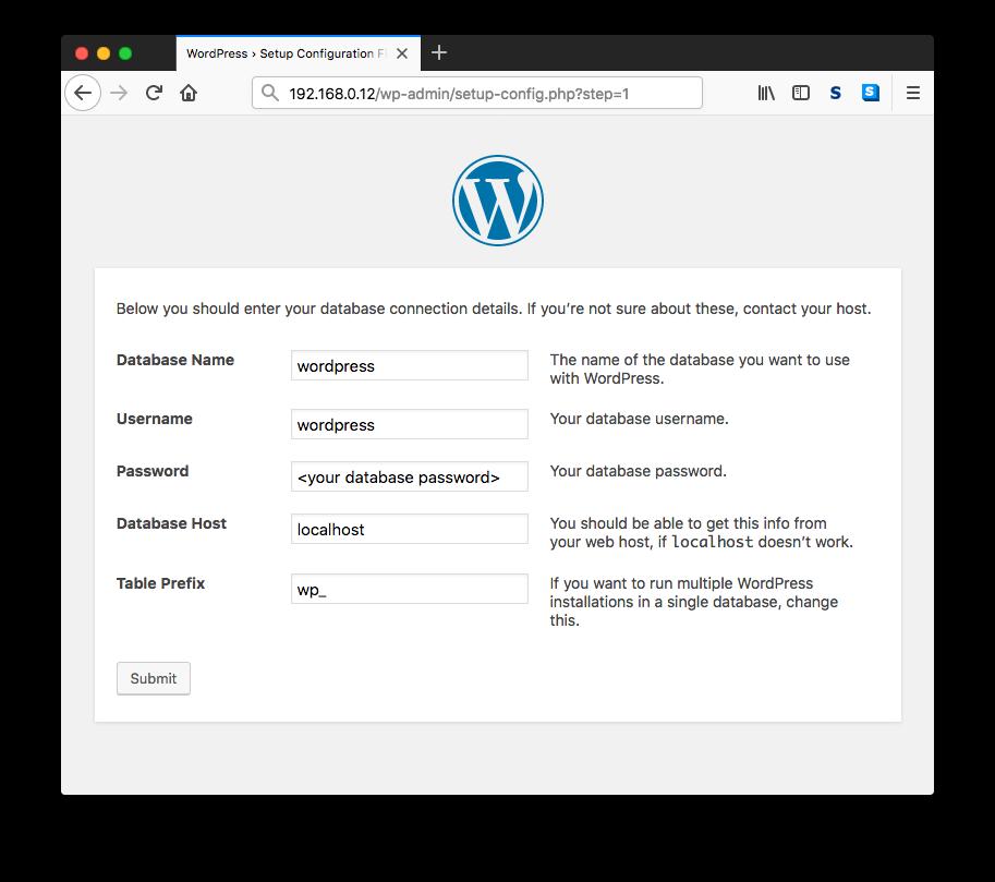 Wordpress Database Setup Page