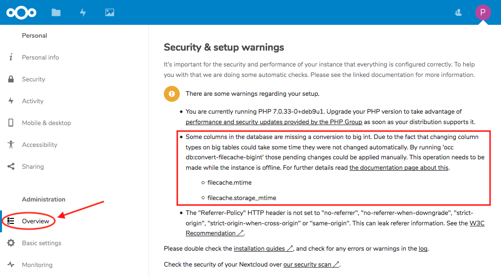 Nextcloud Setup BigInt Warning