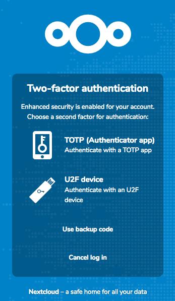 Nextcloud TOTP or U2F 2FA during login
