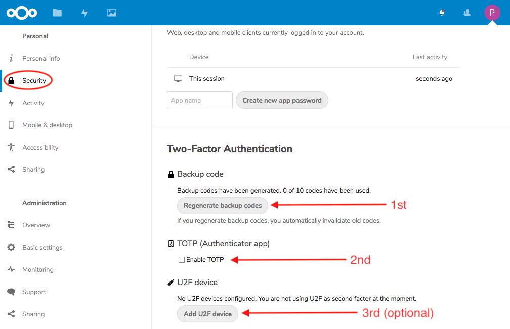 Nextcloud Two Factor Authentication