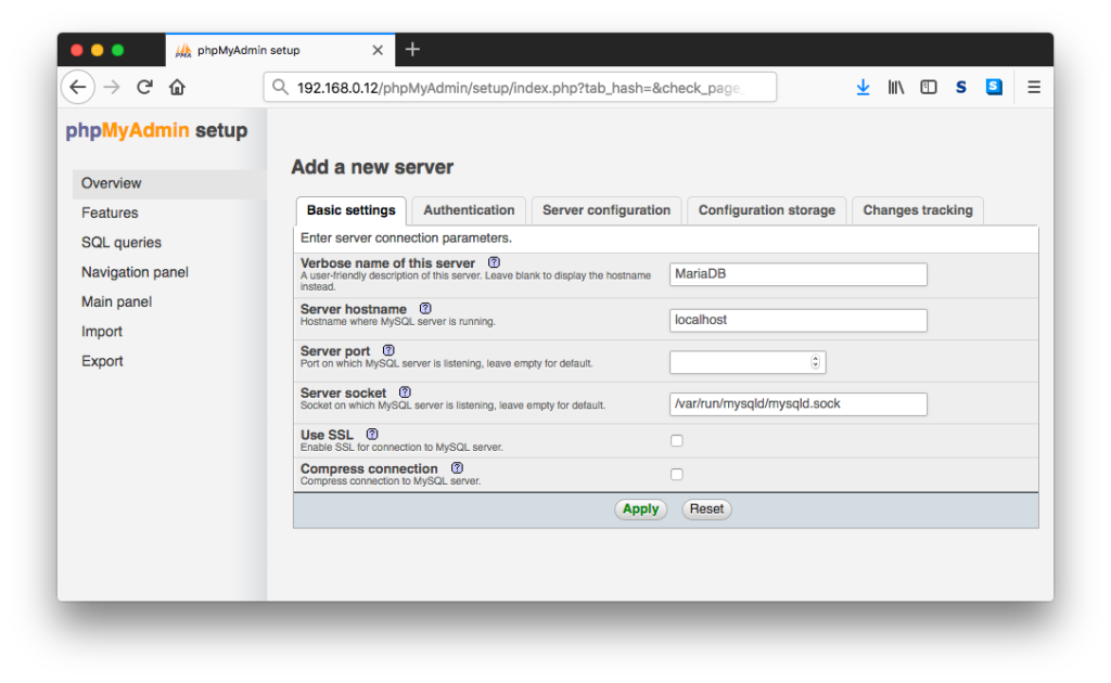 phpMyAdmin Add A New Server