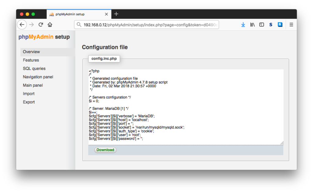 phpMyAdmin Configuration File