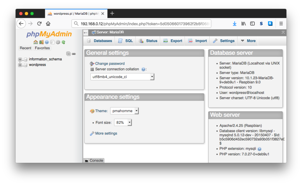 phpMyAdmin Home Page As An Authenticated User