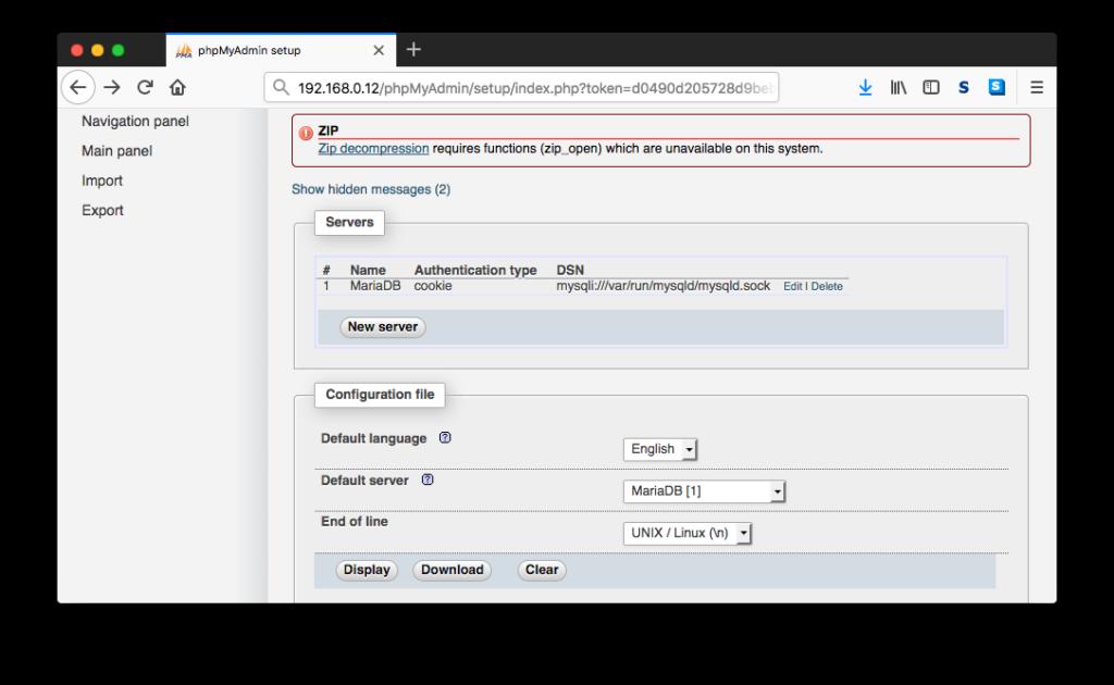 phpMyAdmin Setup With A Server Config