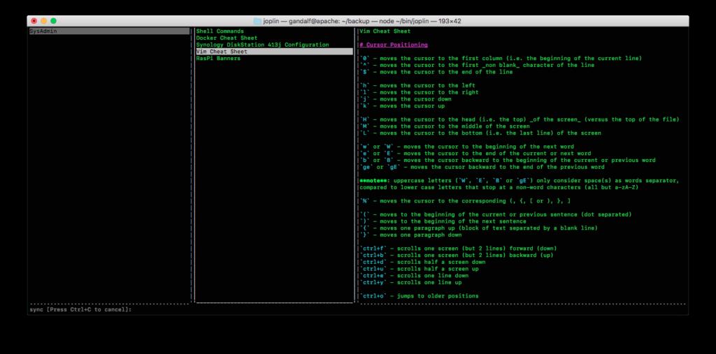 Joplin's Command Line Interface